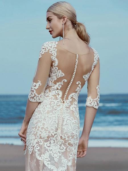 Mermaid \ Trumpet Wedding Dresses Scoop Neck Sweep \ Brush Train Lace Tulle Half Sleeve Beautiful Back_6