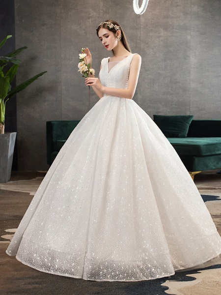 Ball Gown Wedding Dresses V Neck Floor Length Lace Tulle Polyester Sleeveless Romantic Sexy_2
