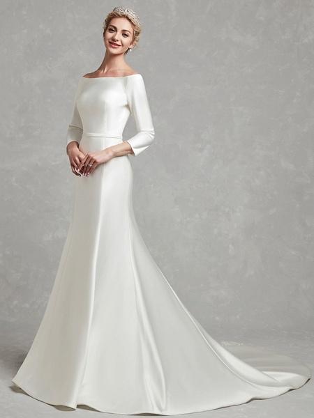 Mermaid \ Trumpet Wedding Dresses Bateau Neck Chapel Train Satin Long Sleeve Formal Little White Dress_3