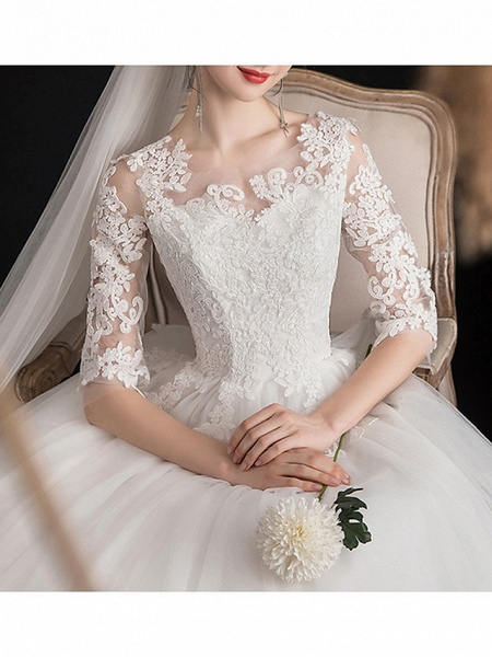 A-Line Wedding Dresses Jewel Neck Sweep \ Brush Train Lace Half Sleeve Glamorous See-Through Illusion Sleeve_2