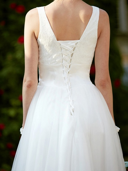 A-Line Wedding Dresses Square Neck Knee Length Lace Tulle Regular Straps Simple Casual Vintage Plus Size Cute_13