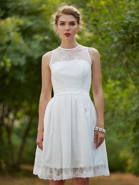 A-Line Wedding Dresses Jewel Neck Knee Length Lace Sleeveless Little White Dress_6