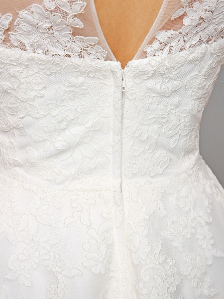 Ball Gown Wedding Dresses Bateau Neck Tea Length Lace Over Tulle Short Sleeve Formal Casual Illusion Detail Cute_5