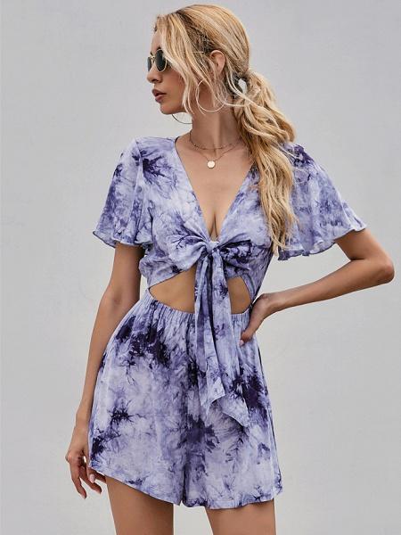 Women's Sundress Short Mini Dress - Short Sleeves Tie Dye Summer Street chic 2020 Purple S M L XL_3
