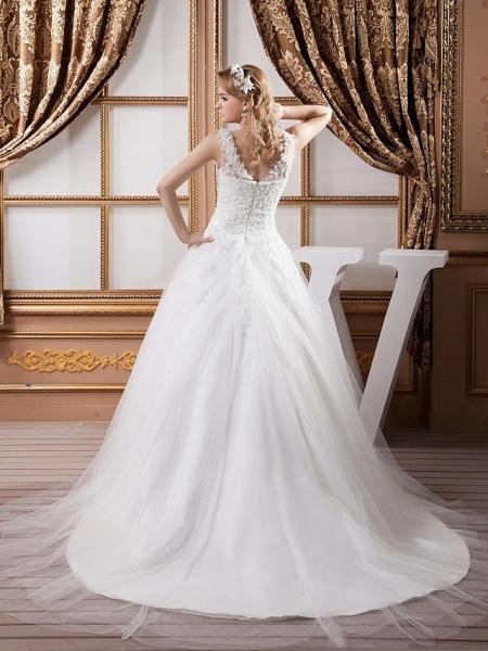 A-Line V Neck Court Train Lace Satin Tulle Spaghetti Strap Wedding Dresses_4