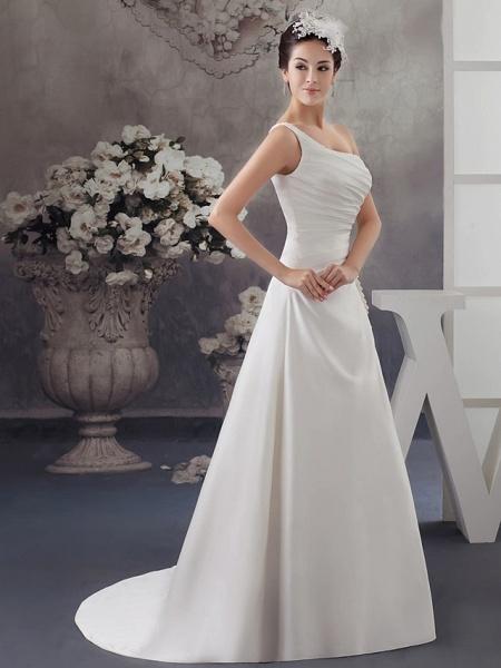 A-Line Wedding Dresses One Shoulder Sweep \ Brush Train Satin Spaghetti Strap_2