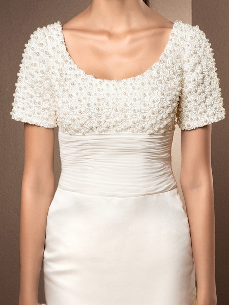 Mermaid \ Trumpet Wedding Dresses Scoop Neck Court Train Lace Satin Short Sleeve_5