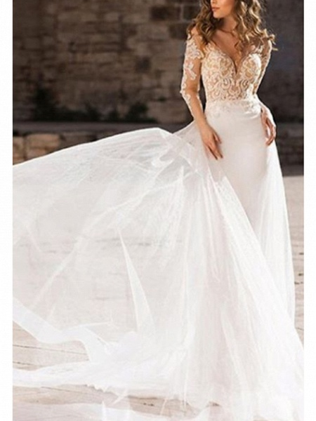 A-Line Wedding Dresses V Neck Court Train Organza Tulle Stretch Satin Long Sleeve Illusion Sleeve_2