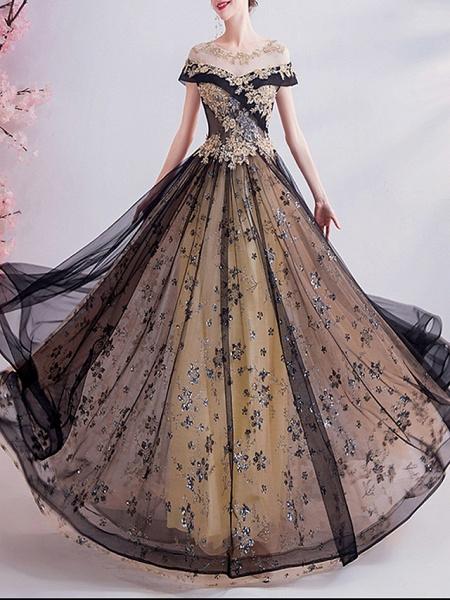 A-Line Wedding Dresses Jewel Neck Sweep \ Brush Train Chiffon Tulle Sleeveless Formal Plus Size Black_1