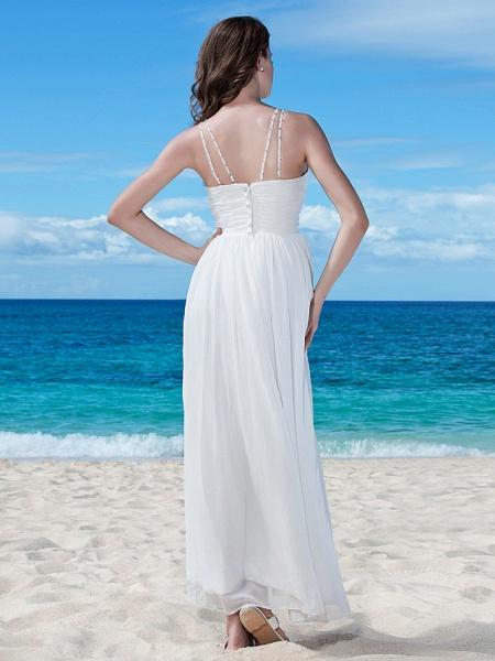 A-Line Wedding Dresses V Neck Floor Length Chiffon Regular Straps Casual Beach Backless_2
