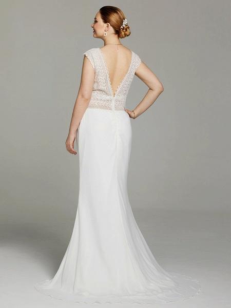 Mermaid \ Trumpet Wedding Dresses V Neck Sweep \ Brush Train Chiffon Lace Sleeveless Open Back See-Through_2