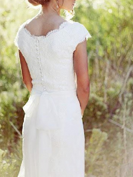 A-Line Wedding Dresses V Neck Sweep \ Brush Train Lace Tulle Cap Sleeve Country Plus Size_2