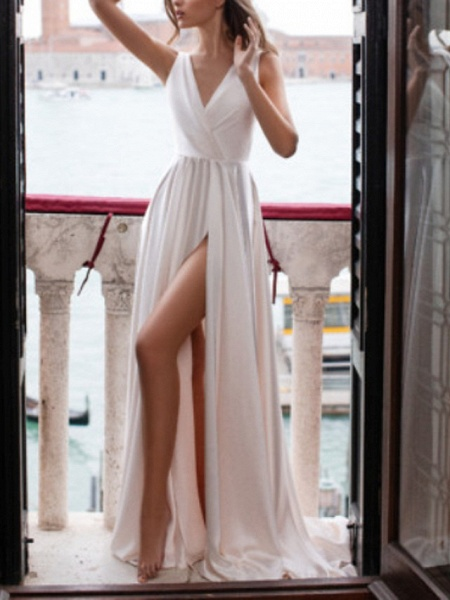 A-Line Wedding Dresses V Neck Sweep \ Brush Train Polyester Sleeveless Country Plus Size_1