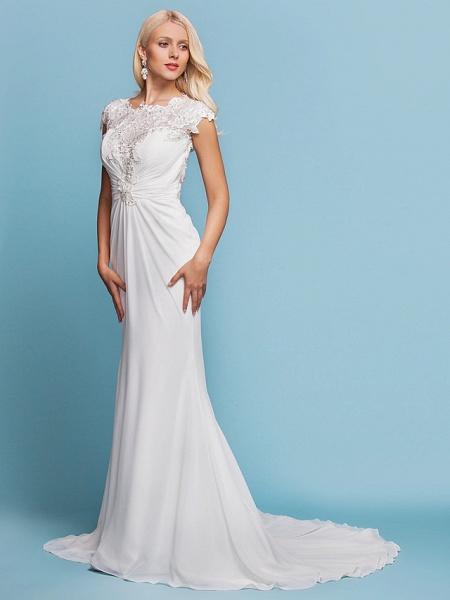 Mermaid \ Trumpet Wedding Dresses Jewel Neck Court Train Chiffon Short Sleeve Open Back_3