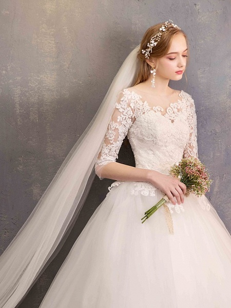 Ball Gown Wedding Dresses Bateau Neck Maxi Lace Tulle Half Sleeve Glamorous Illusion Sleeve_9