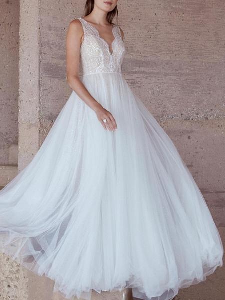 A-Line Wedding Dresses V Neck Sweep \ Brush Train Lace Tulle Regular Straps Plus Size_2