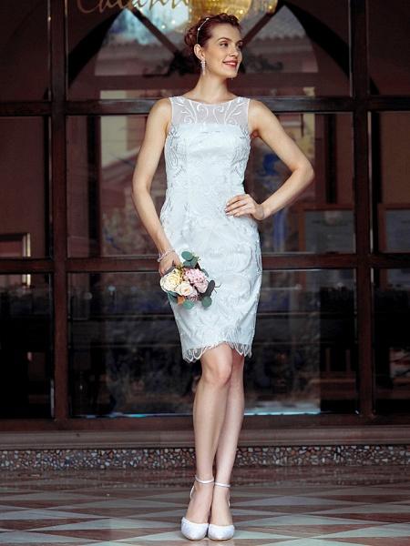 Sheath \ Column Wedding Dresses Bateau Neck Knee Length Metallic Lace Sleeveless Little White Dress See-Through_1
