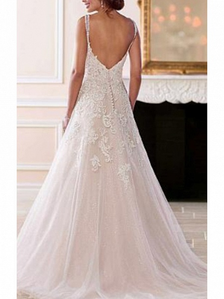 A-Line Wedding Dresses V Neck Sweep \ Brush Train Chiffon Tulle Spaghetti Strap Romantic Illusion Detail Backless_2