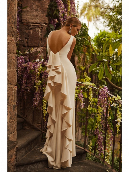 Sheath \ Column Wedding Dresses Bateau Neck Sweep \ Brush Train Satin Regular Straps Vintage Sparkle & Shine_4