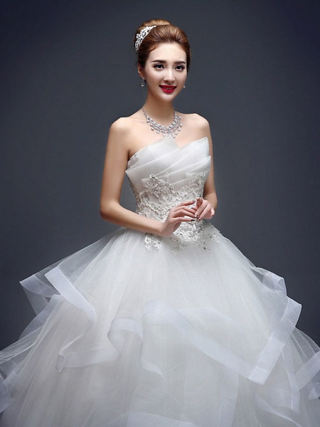 Ball Gown Wedding Dresses Strapless Floor Length Lace Tulle Strapless Sexy Red_3