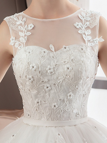 A-Line Wedding Dresses Jewel Neck Floor Length Lace Tulle Polyester Regular Straps Formal Sexy See-Through Illusion Detail_6
