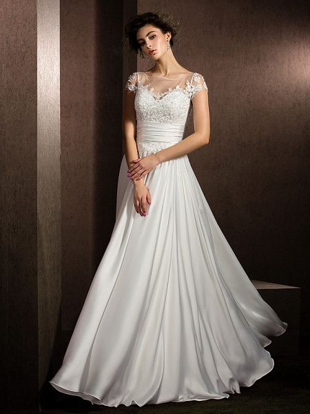 A-Line Wedding Dresses Scoop Neck Floor Length Satin Chiffon Short Sleeve Casual Plus Size_7