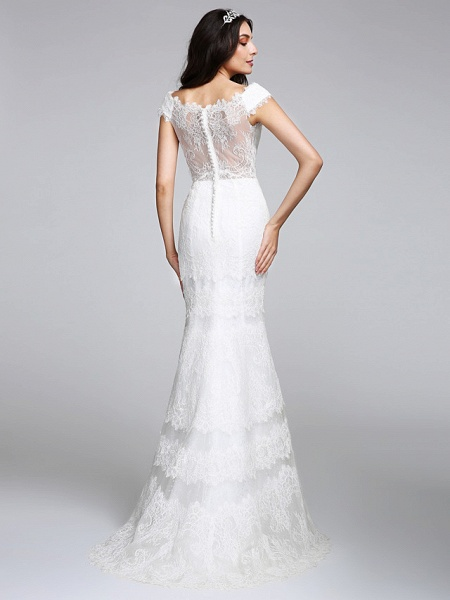 Mermaid \ Trumpet Wedding Dresses V Neck Floor Length All Over Lace Cap Sleeve Romantic Sexy Illusion Detail Backless_1