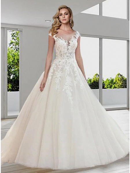 Ball Gown A-Line Wedding Dresses Jewel Neck Sweep \ Brush Train Lace Tulle Short Sleeve Sexy See-Through Backless_1