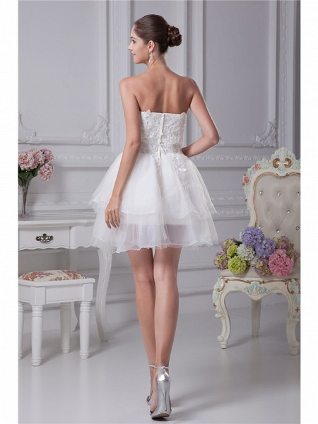 A-Line Wedding Dresses Strapless Mini Lace Organza Strapless_3