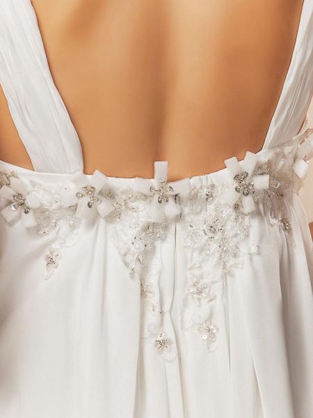 Sheath \ Column Wedding Dresses V Neck Court Train Chiffon Sleeveless See-Through_7