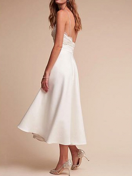 A-Line Wedding Dresses V Neck Tea Length Satin Spaghetti Strap Formal Illusion Detail_3