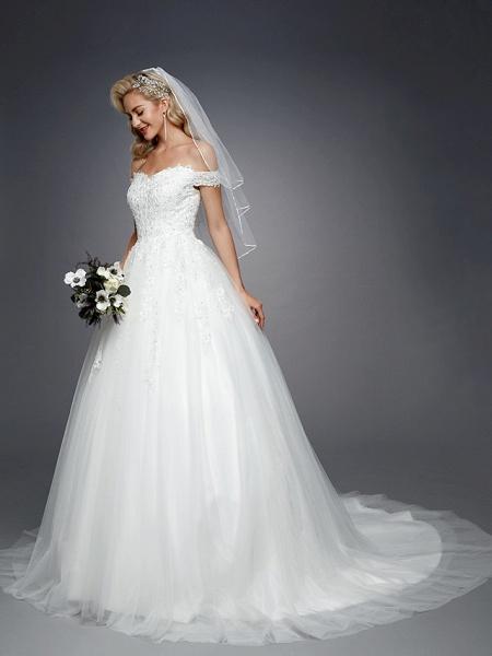 Ball Gown Wedding Dresses Off Shoulder Court Train Lace Tulle Short Sleeve Romantic Sparkle & Shine_7