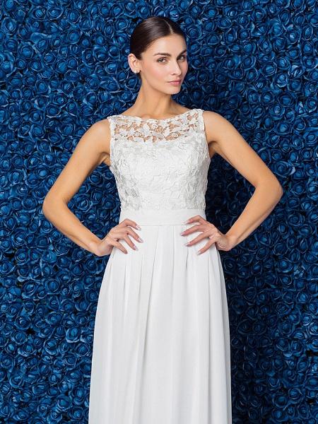 Sheath \ Column Elegant Prom Formal Evening Dress Illusion Neck Sleeveless Floor Length Chiffon Lace_7