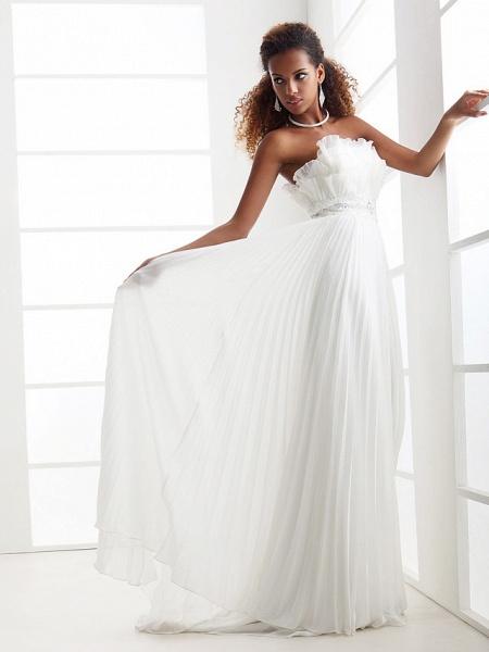 Sheath \ Column Wedding Dresses Scalloped-Edge Sweep \ Brush Train Chiffon Sleeveless_6
