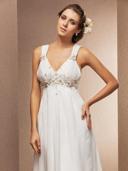Sheath \ Column Wedding Dresses V Neck Court Train Chiffon Sleeveless See-Through_6