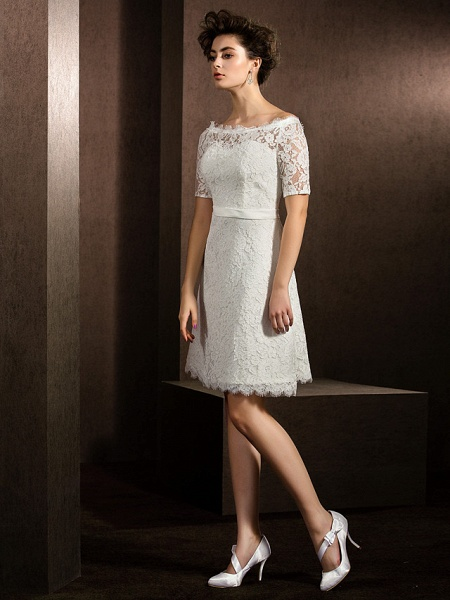 A-Line Wedding Dresses Bateau Neck Knee Length Lace Half Sleeve Formal Casual Little White Dress Illusion Sleeve_11