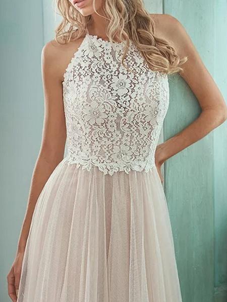 A-Line Wedding Dresses Jewel Neck Floor Length Lace Tulle Sleeveless Casual Boho Plus Size_3
