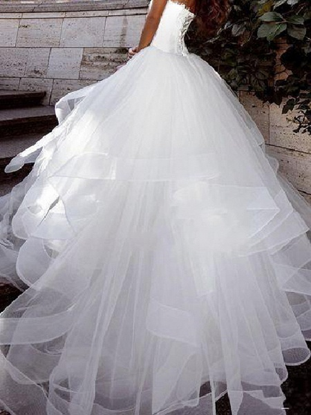 Ball Gown Wedding Dresses Strapless Sweep \ Brush Train Tulle Sleeveless Country Plus Size_2