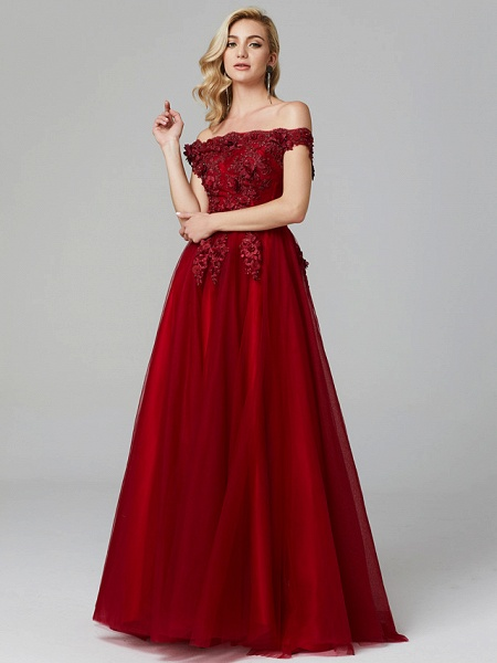 A-Line Floral Pink Prom Formal Evening Dress Off Shoulder Sleeveless Sweep \ Brush Train Tulle Over Lace_12