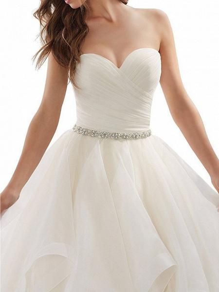 A-Line Wedding Dresses Sweetheart Neckline Chapel Train Organza Strapless Plus Size_3