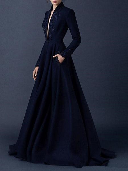 A-Line Wedding Dresses V Neck Sweep \ Brush Train Satin Long Sleeve Formal Plus Size Black_1