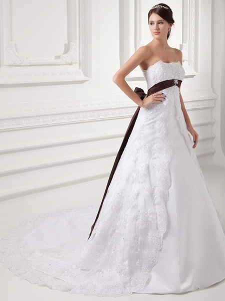 A-Line Strapless Chapel Train Lace Satin Tulle Strapless Wedding Dresses_3