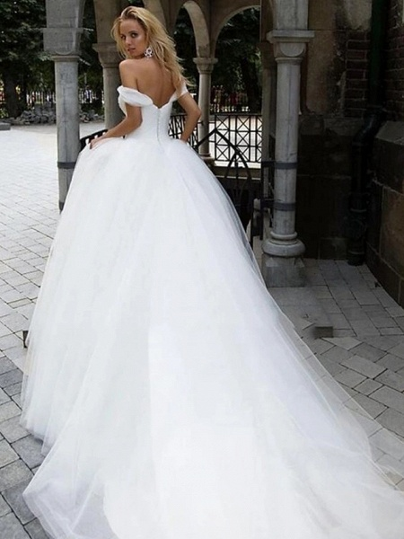 Ball Gown Wedding Dresses Off Shoulder Chapel Train Tulle Short Sleeve_5