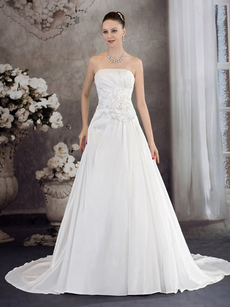 A-Line Strapless Chapel Train Taffeta Strapless Wedding Dresses_1