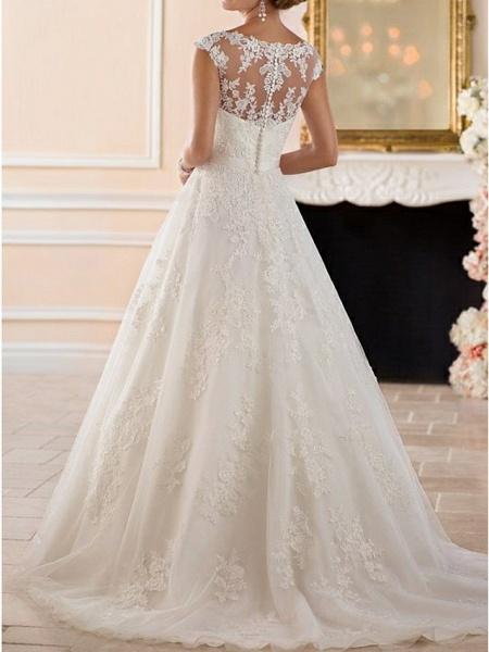 A-Line Wedding Dresses Bateau Neck Sweep \ Brush Train Lace Cap Sleeve Glamorous See-Through Illusion Detail_2
