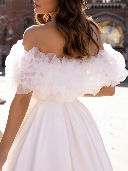 Ball Gown Wedding Dresses Off Shoulder Sweep \ Brush Train Satin Tulle Short Sleeve Formal_4