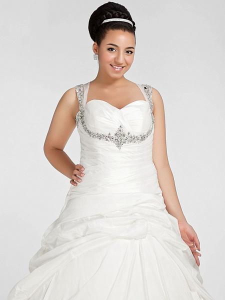 Ball Gown Sweetheart Neckline Chapel Train Taffeta Sleeveless Sparkle & Shine Wedding Dresses_9