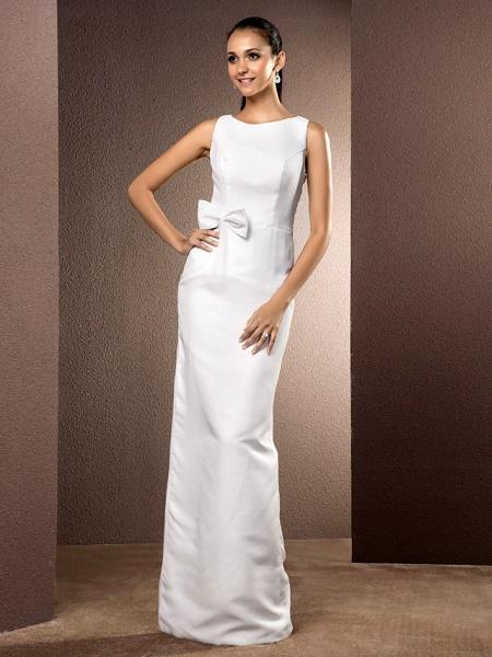 Sheath \ Column Wedding Dresses Bateau Neck Floor Length Chiffon Sleeveless_1