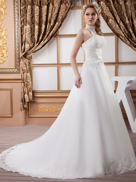 A-Line High Neck Court Train Lace Satin Tulle Regular Straps Wedding Dresses_2