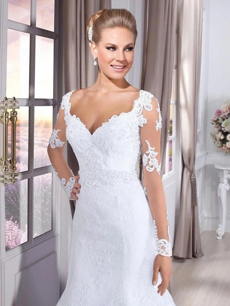 Mermaid \ Trumpet Wedding Dresses Sweetheart Neckline Court Train Lace Tulle Lace Over Satin Long Sleeve Sexy Backless Illusion Sleeve_4